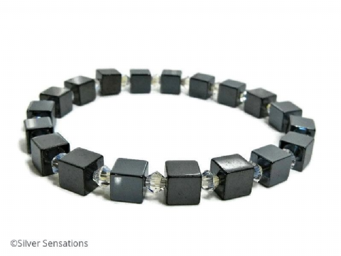 Hematite Cube Beads Unisex Bracelet With Clear Swarovski Crystals